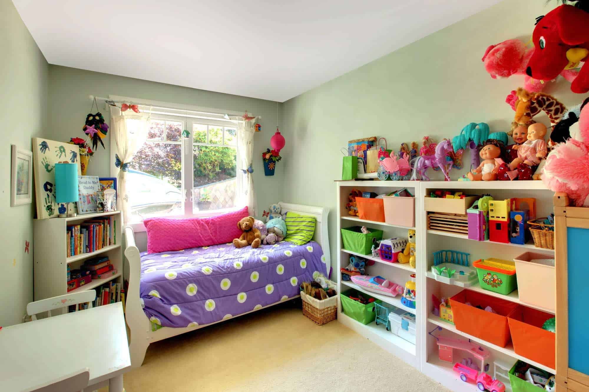 Tidy kids bedroom cleaned and clutter-free