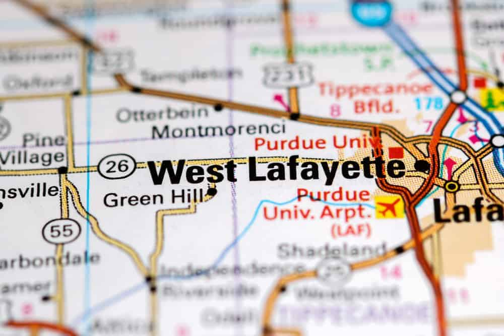 West Lafayette. Indiana. USA on a map